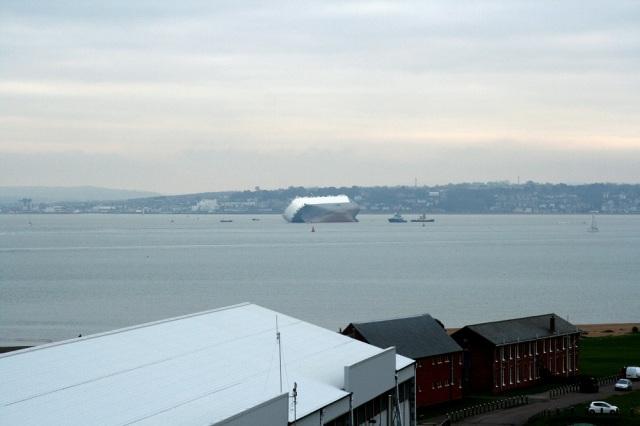 Stricken ship - picture taken from Calshot Tower